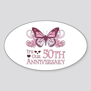 50th Wedding Aniversary (Butterfly) Sticker (Oval)