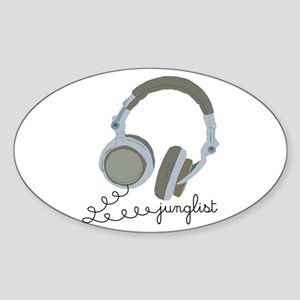 Junglist Headphones Oval Sticker