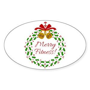 Merry Fitness Wreath Sticker