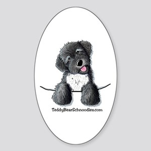 Pocket Black Schnoodle Oval Sticker