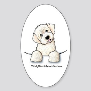 White Schnoodle Pocket Oval Sticker