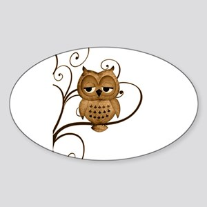 Brown Swirly Tree Owl Sticker (Oval)