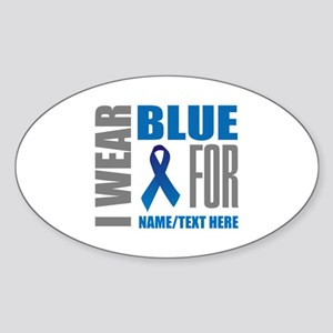 Blue Awareness Ribbon Customized Sticker (Oval)