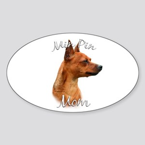 Min Pin Mom2 Oval Sticker