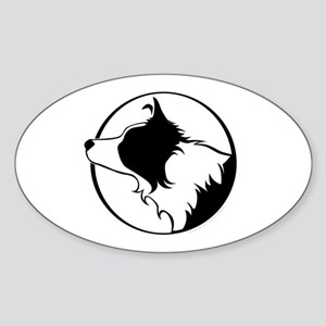 Border Collie Head B&W Oval Sticker