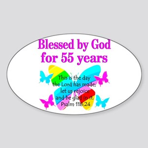 BLESSED 55 YR OLD Sticker (Oval)