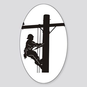 lineman silhouette 1_black Sticker (Oval)