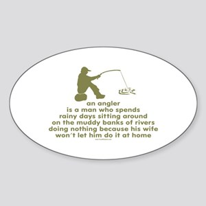 Humorous Fishing Oval Sticker