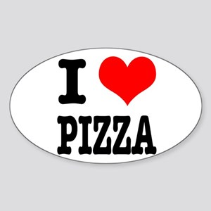 I Heart (Love) Pizza Oval Sticker