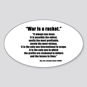 War is a Racket Oval Sticker