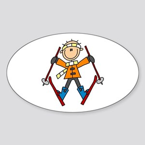 Snow Skiing Oval Sticker