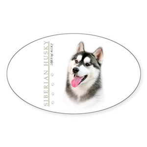 Siberian Husky Sticker Oval