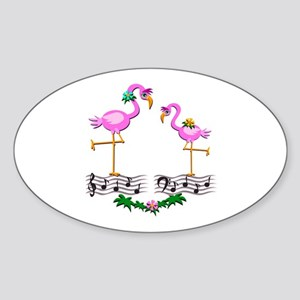 Dancing Pink Flamingos - Sticker (Oval)