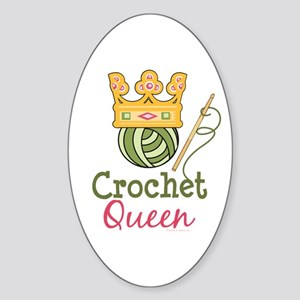 Crochet Queen Oval Sticker