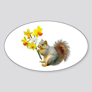 Squirrel Daffodils Sticker (Oval)