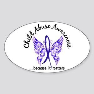 Child Abuse Butterfly 6.1 Sticker (Oval)