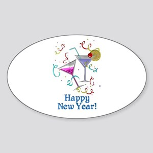 Happy New Year Sticker (Oval)