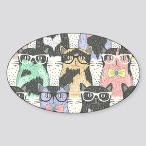 260f853fd00c4 Hipster Cat Oval Stickers - CafePress
