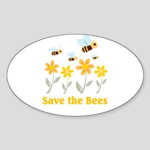 Save the Bees Oval Sticker