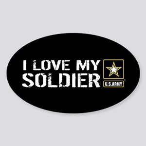 U.S. Army: I Love My Soldier (Black Sticker (Oval)