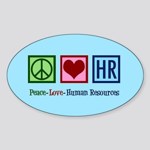 Peace Love HR Sticker (Oval)