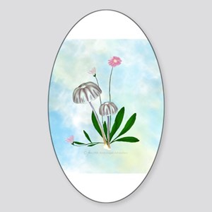 White, Purple Mushrooms Tiny Daisies Sticker (Ova
