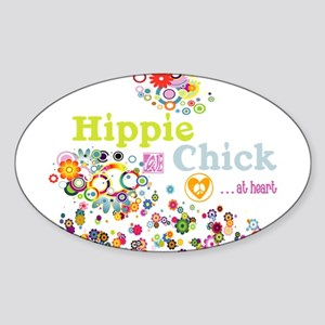 Hippie Chick at Heart Sticker (Oval)