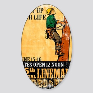 power lineman electrician repairman Sticker (Oval)