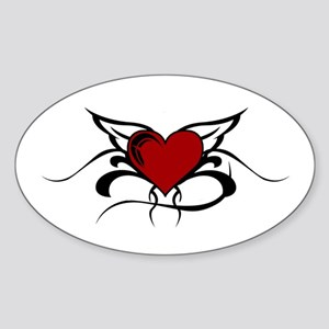 Winged Heart Oval Sticker
