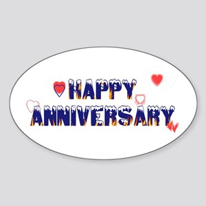 Happy Anniversary-melt Oval Sticker