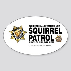 Squirrel Patrol Oval Sticker