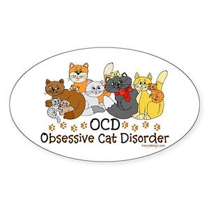 OCD Obsessive Cat Disorder Sticker (Oval)