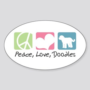 Peace, Love, Doodles Sticker (Oval)