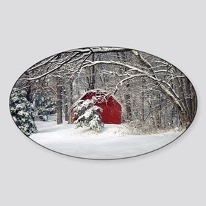 Red Barn in the Snow 2011 Sticker