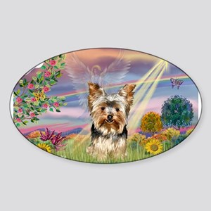 Cloud Angel & Yorkie Sticker (Oval)