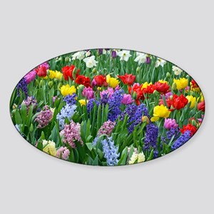 Spring garden flowers Sticker (Oval)