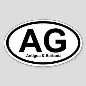 AG Antigua & Barbuda Oval Sticker