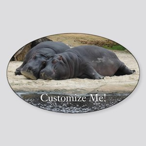 Hippo Love and Snuggles Customizable Sticker