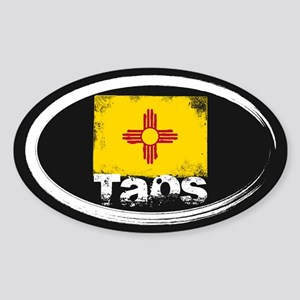 Taos Grunge Flag Sticker (Oval)