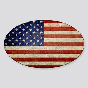 5x3rect_sticker_american_flag_old Sticker (Oval)