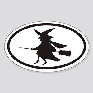 Flying Witch on a Broom Euro Oval Sticker
