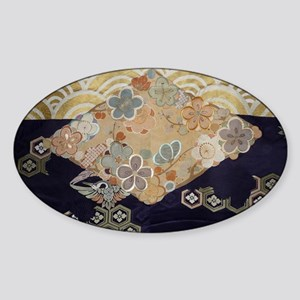 Antique kimono silk textile designs Sticker (Oval)