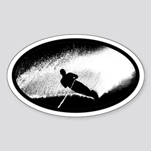 Water Skiing Oval Sticker