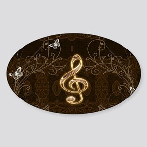 Music, clef with floral elements Sticker