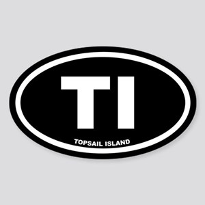 TI Topsail Island Black Euro Oval Sticker