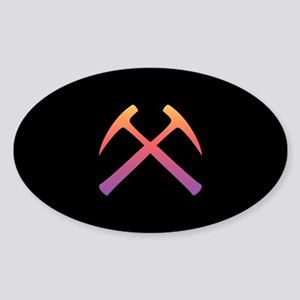 Sunset Crossed Rock Hammers Oval Sticker