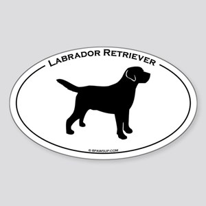 Labrador Oval Text Sticker (Oval)
