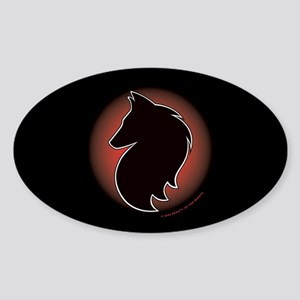 Red Sun Belgian Oval Sticker