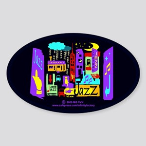 Jazz Nights Oval Sticker