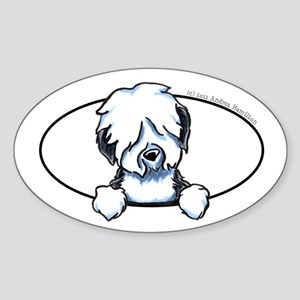 Old English Sheepdog Peeking Bumper Sticker (Oval)